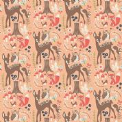 Riley Blake Woodland Spring - 4387 - Deer Owls Foxes on Light Coral - C4990 Coral - Cotton Fabric